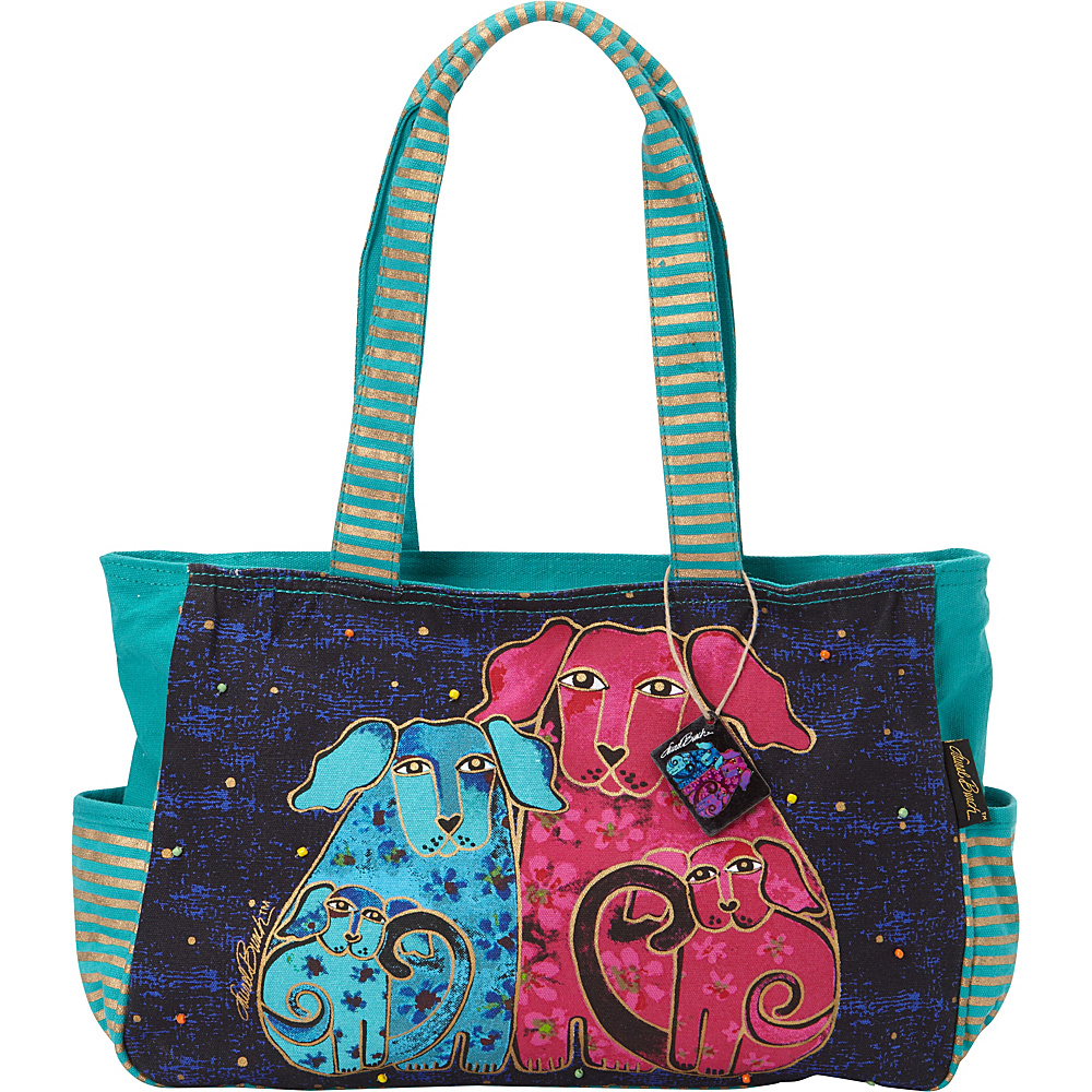 Laurel Burch Blossoming Pups Mini Tote Blue Laurel Burch Fabric Handbags