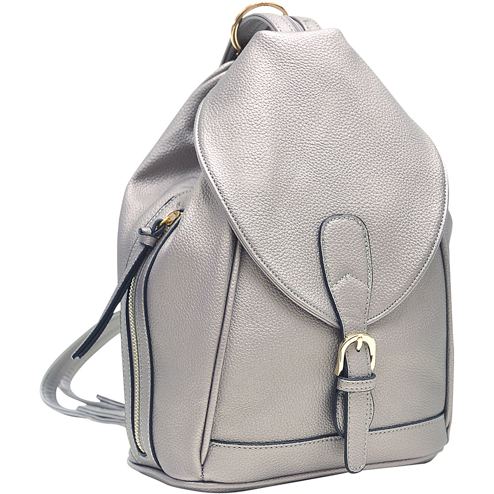 Dasein Classic Convertible Backpack Pewter - Dasein Leather Handbags - Handbags, Leather Handbags