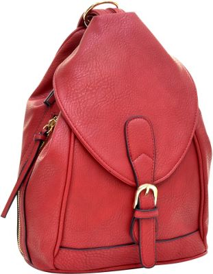 Dasein Classic Convertible Backpack Red - Dasein Leather Handbags