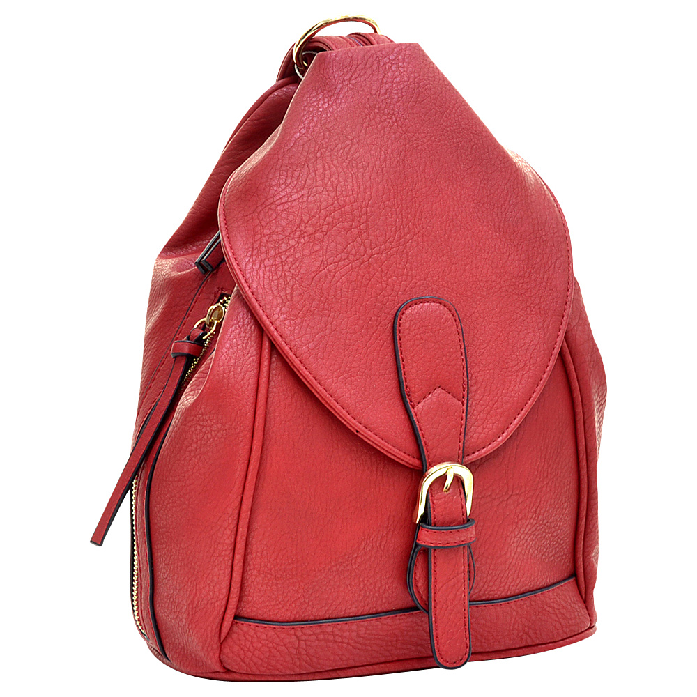 Dasein Classic Convertible Backpack Red - Dasein Leather Handbags - Handbags, Leather Handbags