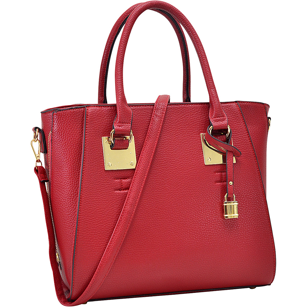 Dasein Side Zipper Dcor Leather Satchel Red - Dasein Manmade Handbags - Handbags, Manmade Handbags