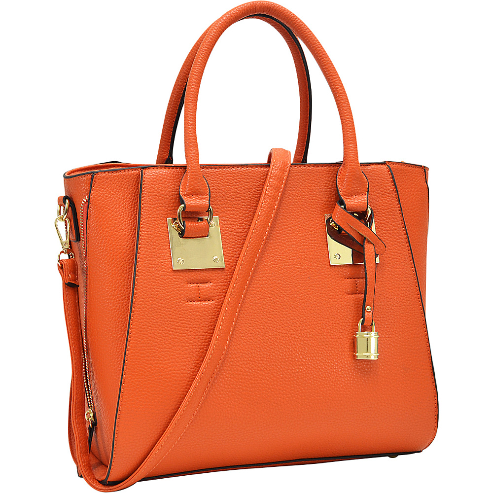 Dasein Side Zipper Dcor Leather Satchel Orange - Dasein Manmade Handbags - Handbags, Manmade Handbags