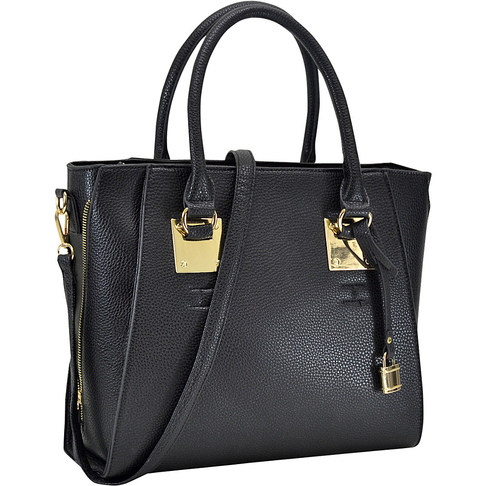 Dasein Side Zipper Dcor Leather Satchel Black - Dasein Manmade Handbags - Handbags, Manmade Handbags