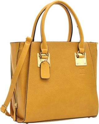 Dasein Side Zipper Dcor Leather Satchel Tan - Dasein Manmade Handbags