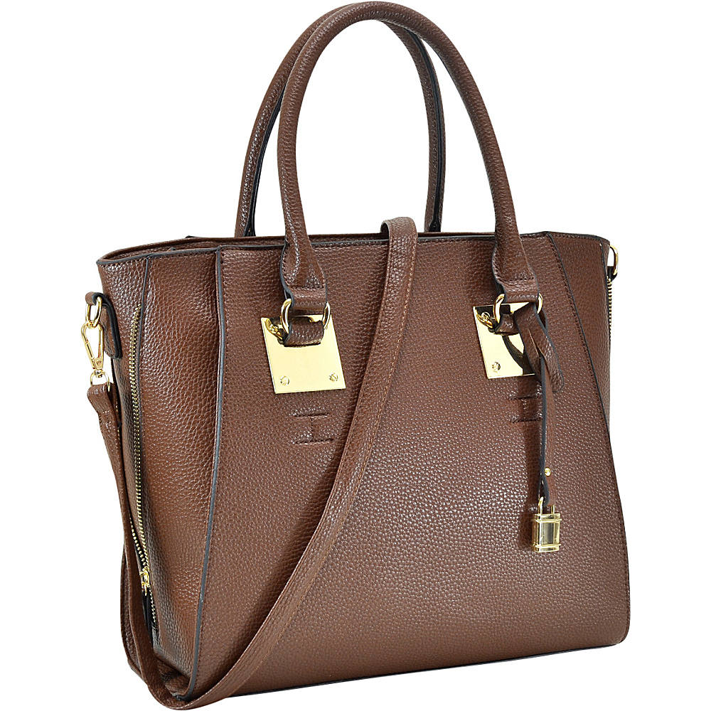 Dasein Side Zipper Dcor Leather Satchel Brown - Dasein Manmade Handbags - Handbags, Manmade Handbags