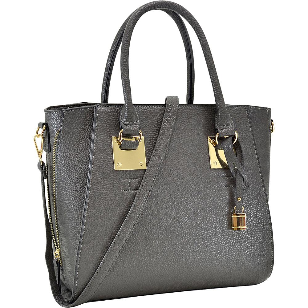 Dasein Side Zipper Dcor Leather Satchel Grey - Dasein Gym Bags - Sports, Gym Bags