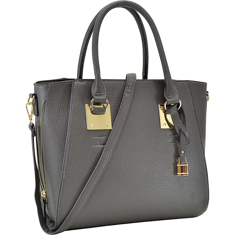 Dasein Side Zipper Dcor Leather Satchel Grey - Dasein Manmade Handbags - Handbags, Manmade Handbags