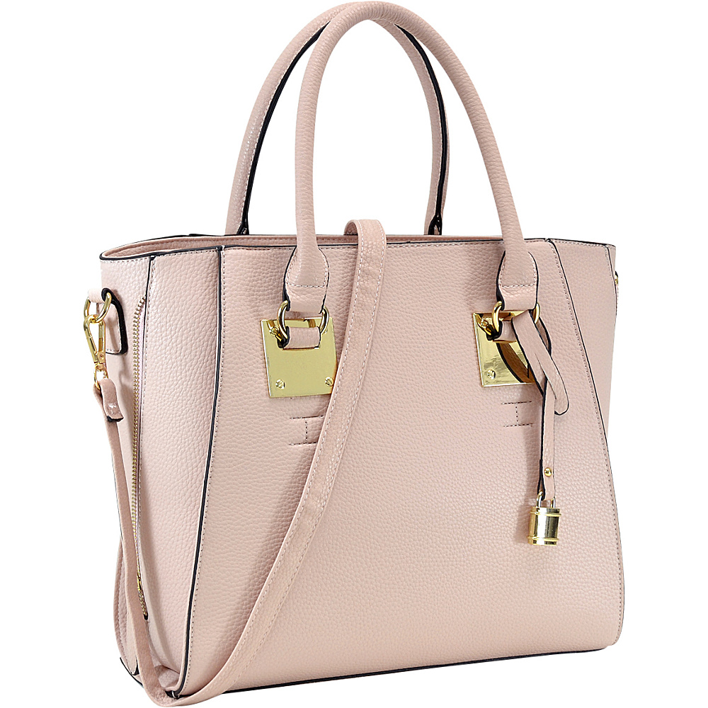 Dasein Side Zipper Dcor Leather Satchel Pink - Dasein Manmade Handbags - Handbags, Manmade Handbags