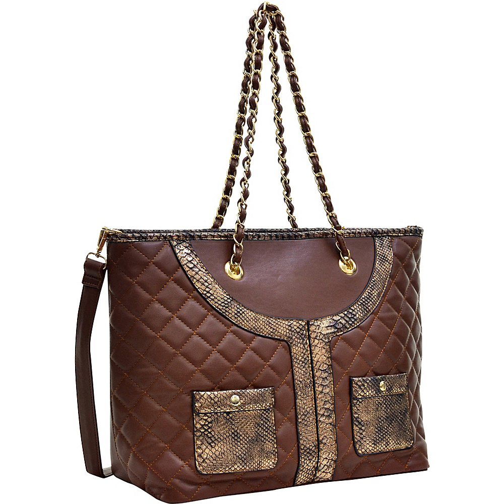 Dasein Quilted Tote Bag with Snake Embossed Trim Coffee/Gold - Dasein Manmade Handbags - Handbags, Manmade Handbags