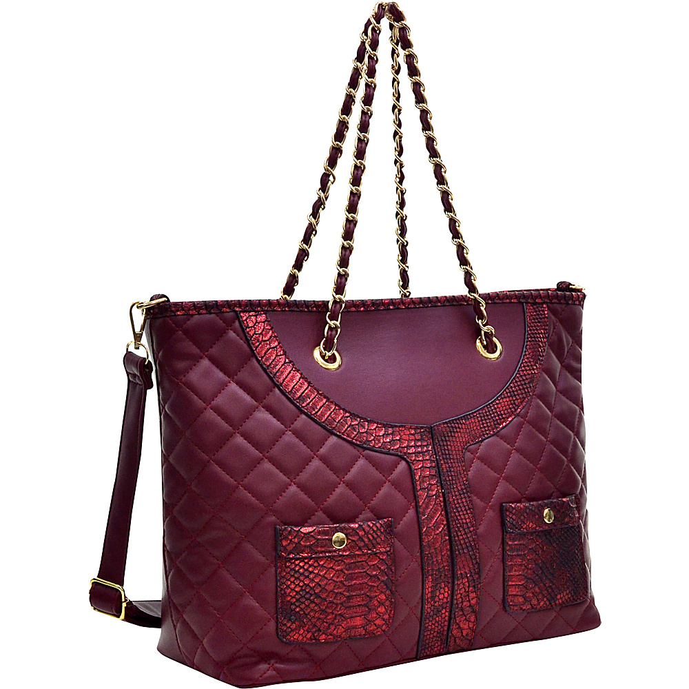 Dasein Quilted Tote Bag with Snake Embossed Trim Wine - Dasein Manmade Handbags - Handbags, Manmade Handbags