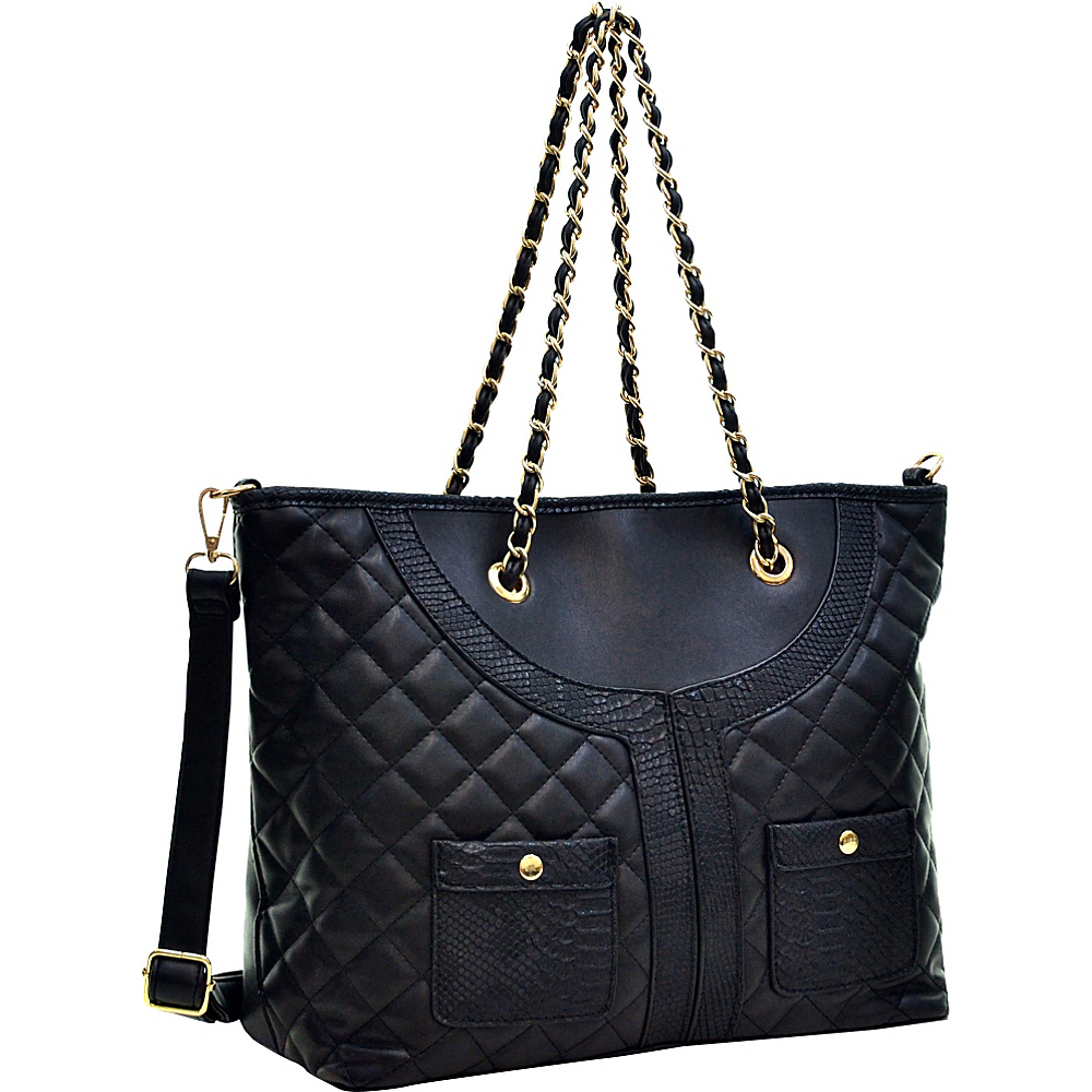 Dasein Quilted Tote Bag with Snake Embossed Trim Black - Dasein Manmade Handbags - Handbags, Manmade Handbags