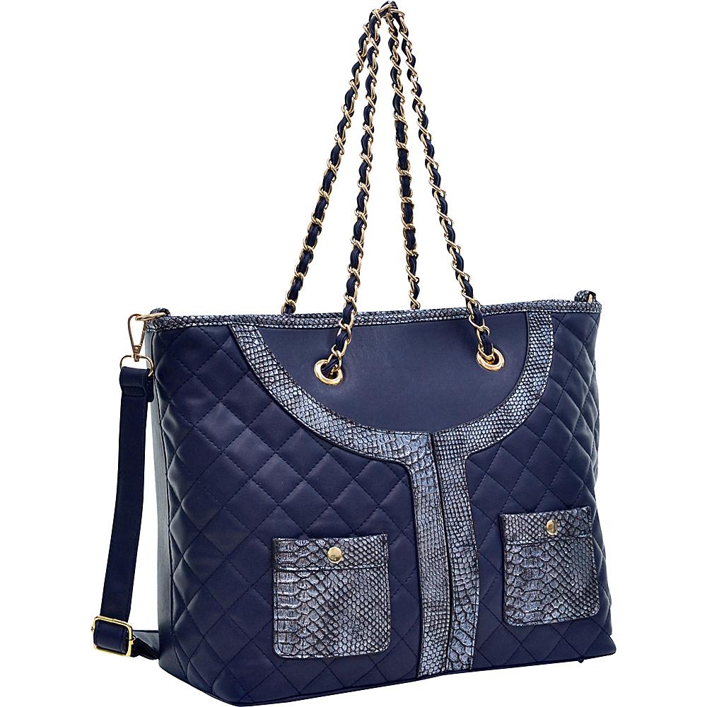 Dasein Quilted Tote Bag with Snake Embossed Trim Blue - Dasein Manmade Handbags - Handbags, Manmade Handbags