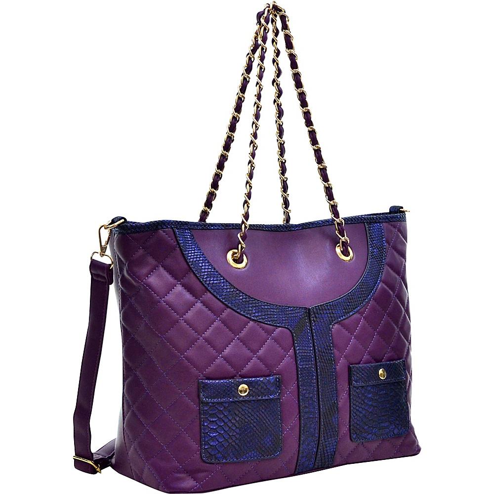 Dasein Quilted Tote Bag with Snake Embossed Trim Purple - Dasein Manmade Handbags - Handbags, Manmade Handbags