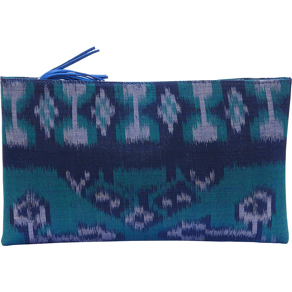 TLC you Ibu Clutch Blue Green TLC you Fabric Handbags