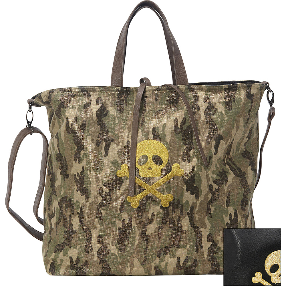 Clava Oversized Skull and Bones Crossbody Metallic Camo Clava Fabric Handbags
