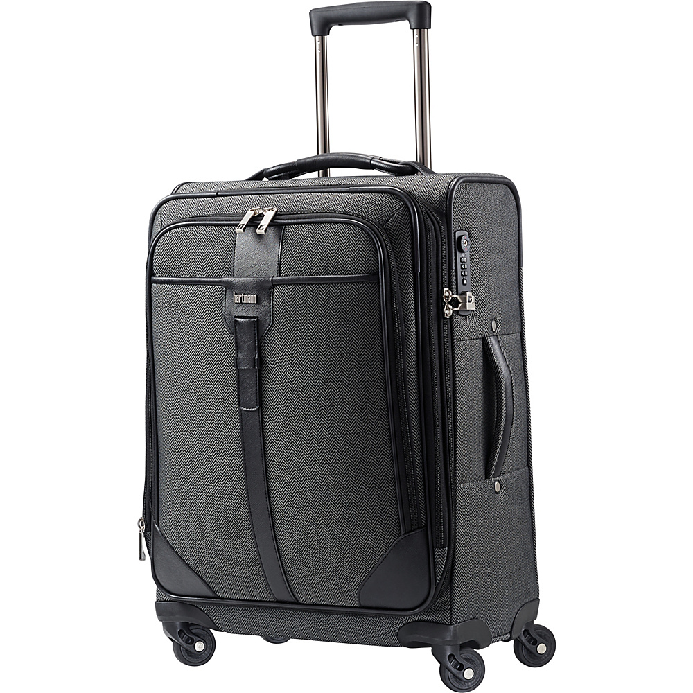 Hartmann Luggage Herringbone Luxe Softside Carry On Expandable Spinner Black Herringbone Hartmann Luggage Softside Carry On