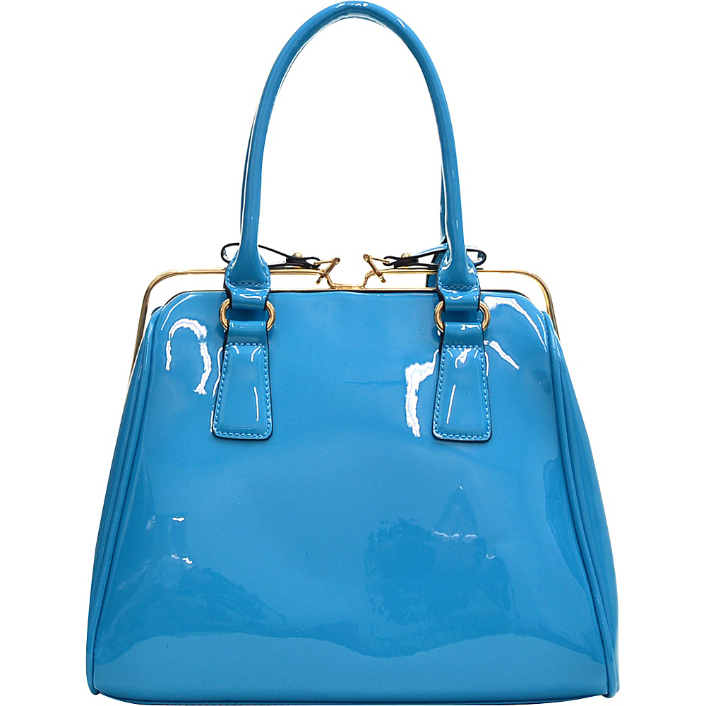 Dasein Patent Faux Leather Frame Satchel Blue - Dasein Gym Bags - Sports, Gym Bags