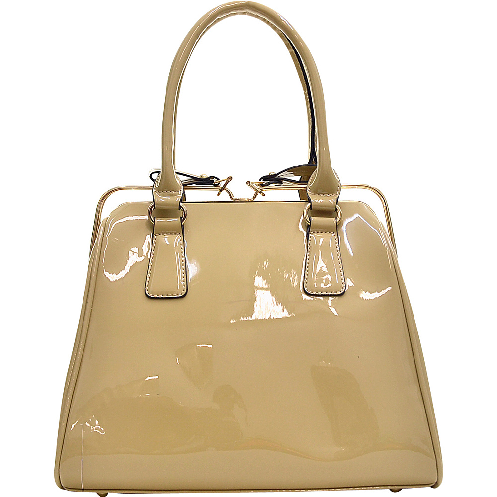 Dasein Patent Faux Leather Frame Satchel Beige - Dasein Gym Bags - Sports, Gym Bags