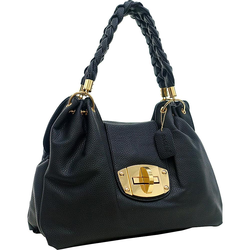 Dasein Buffalo Faux Leather Braided Strap Hobo Black - Dasein Manmade Handbags - Handbags, Manmade Handbags