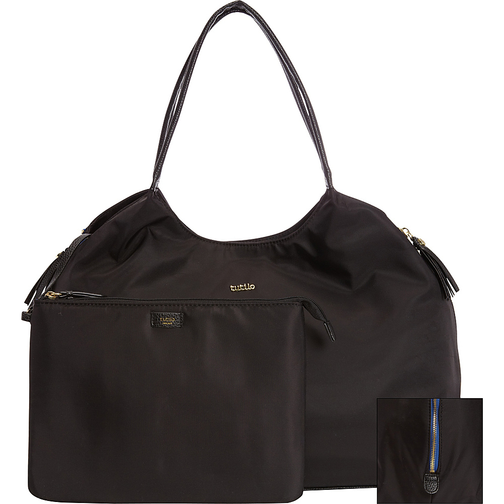 Tutilo Front Runner Nylon Pop Zipper Tote Black with Blue zipper tape - Tutilo Ladies' Business