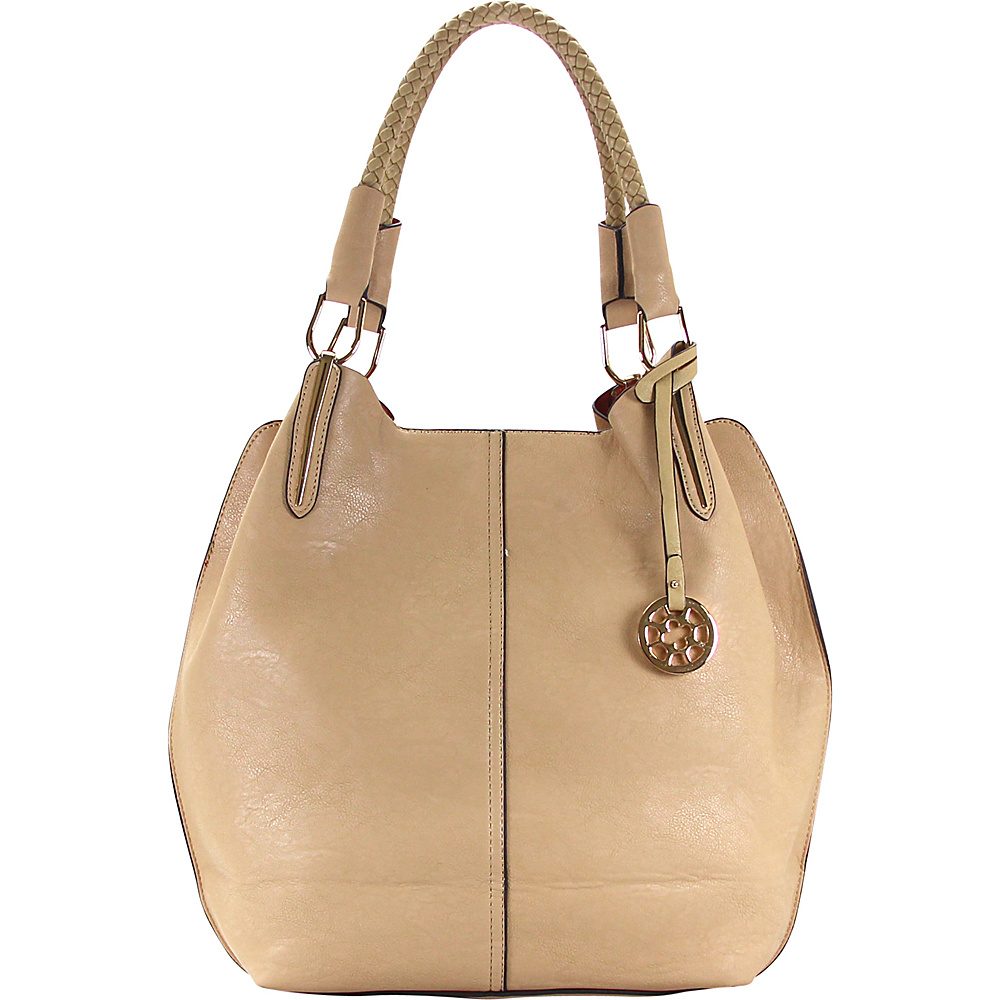 Royal Lizzy Couture Creme Glacace 2-in-1 Shoulder Tote Beige - Royal Lizzy Couture Manmade Handbags
