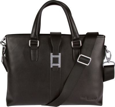 Image of Access Denied Men's RFID Blocking Leather Top Zip Briefcase Black - Access Denied Non-Wheeled Business Cases