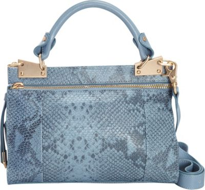 Foley + Corinna Foley + Corinna Dione Cerberus Mini Messenger Azul Snake - Foley + Corinna Leather Handbags