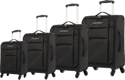 Triforce Aerea Collection Lightweight 4-piece Spinner Luggage Set Black - Triforce Luggage Sets
