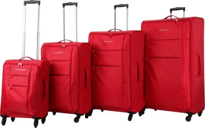 Triforce Aerea Collection Lightweight 4-piece Spinner Luggage Set Red - Triforce Luggage Sets