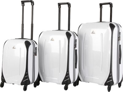 Triforce Empire Collection Hardside 3-piece Spinner Luggage Set White Carbon - Triforce Luggage Sets