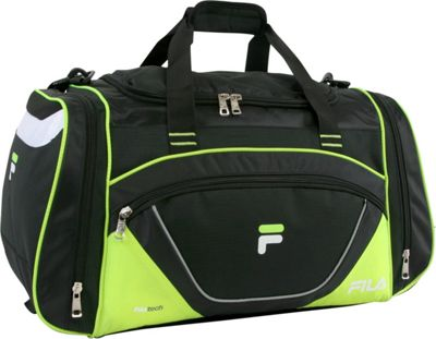 Fila Acer Large Sport Duffel Bag Black/Neon Green - Fila Gym Duffels