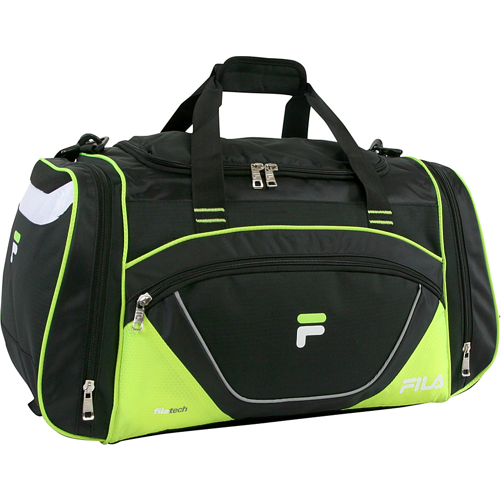 Fila Acer Large Sport Duffel Bag Black Neon Green Fila Gym Duffels