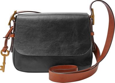 Fossil Harper Small Saddle Crossbody Black - Fossil Leather Handbags