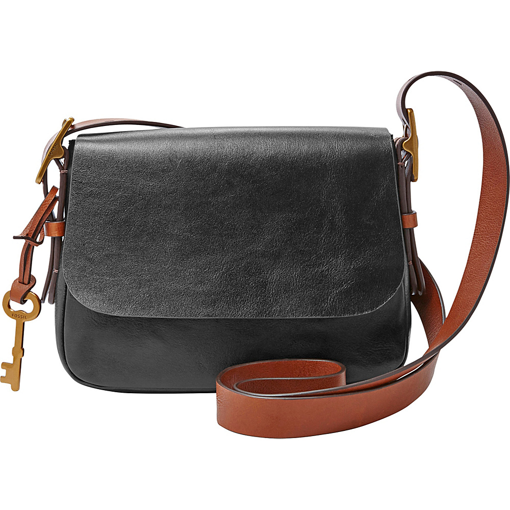 Fossil Harper Small Saddle Crossbody Black - Fossil Leather Handbags - Handbags, Leather Handbags