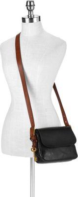 Fossil Harper Small Saddle Crossbody Black - Fossil Leather Handbags