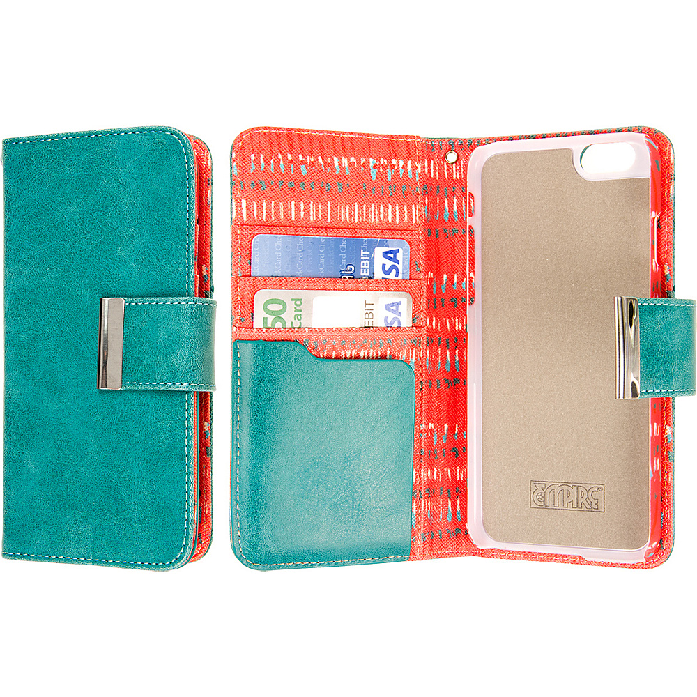 EMPIRE KLIX Klutch Designer Wallet Cases Apple iPhone 6 Plus iPhone 6S Plus Teal Tribal EMPIRE Electronic Cases