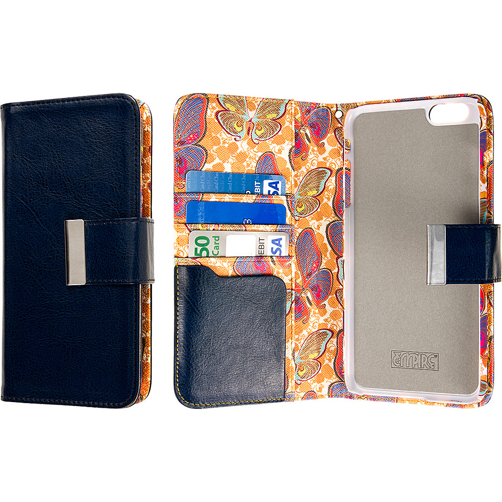EMPIRE KLIX Klutch Designer Wallet Cases Apple iPhone 6 Plus iPhone 6S Plus Navy Blue Butterflies EMPIRE Electronic Cases