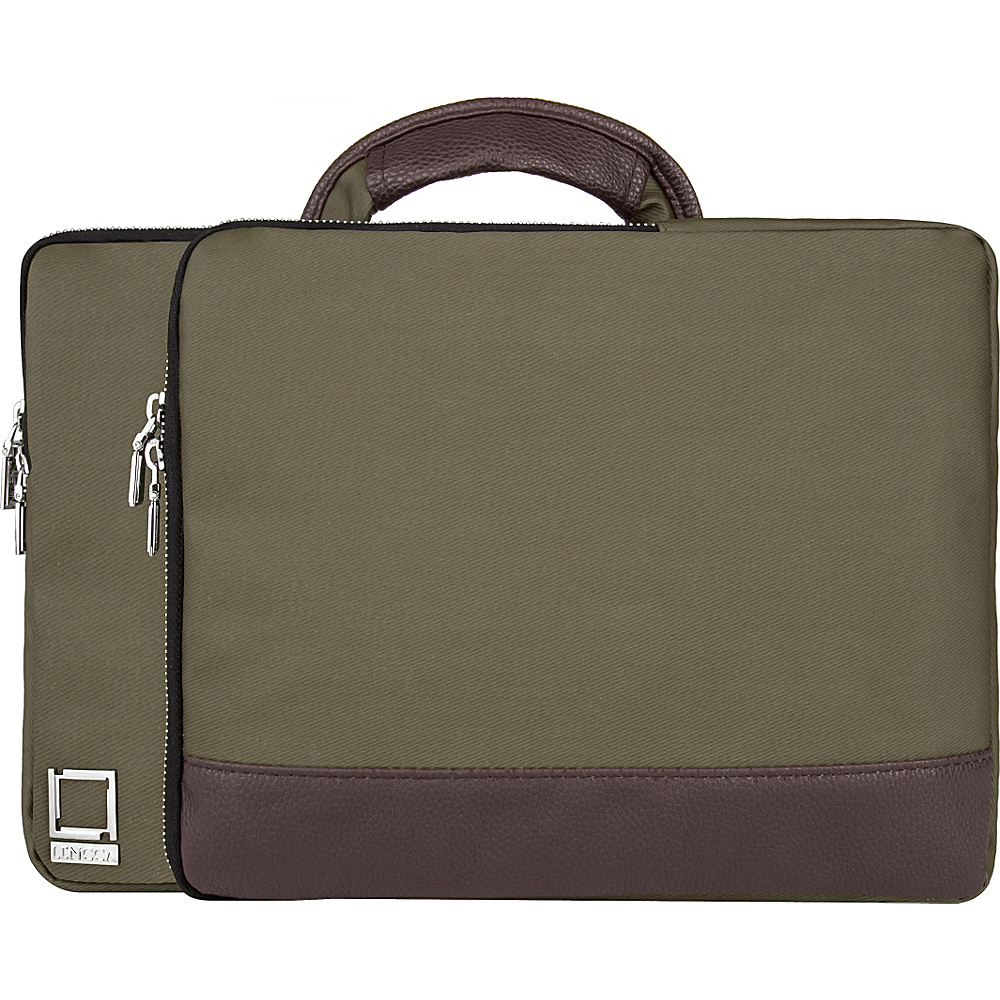 Lencca Divisio Laptop Tablet Top Handle Sleeve Forest Green Espresso Brown Lencca Electronic Cases