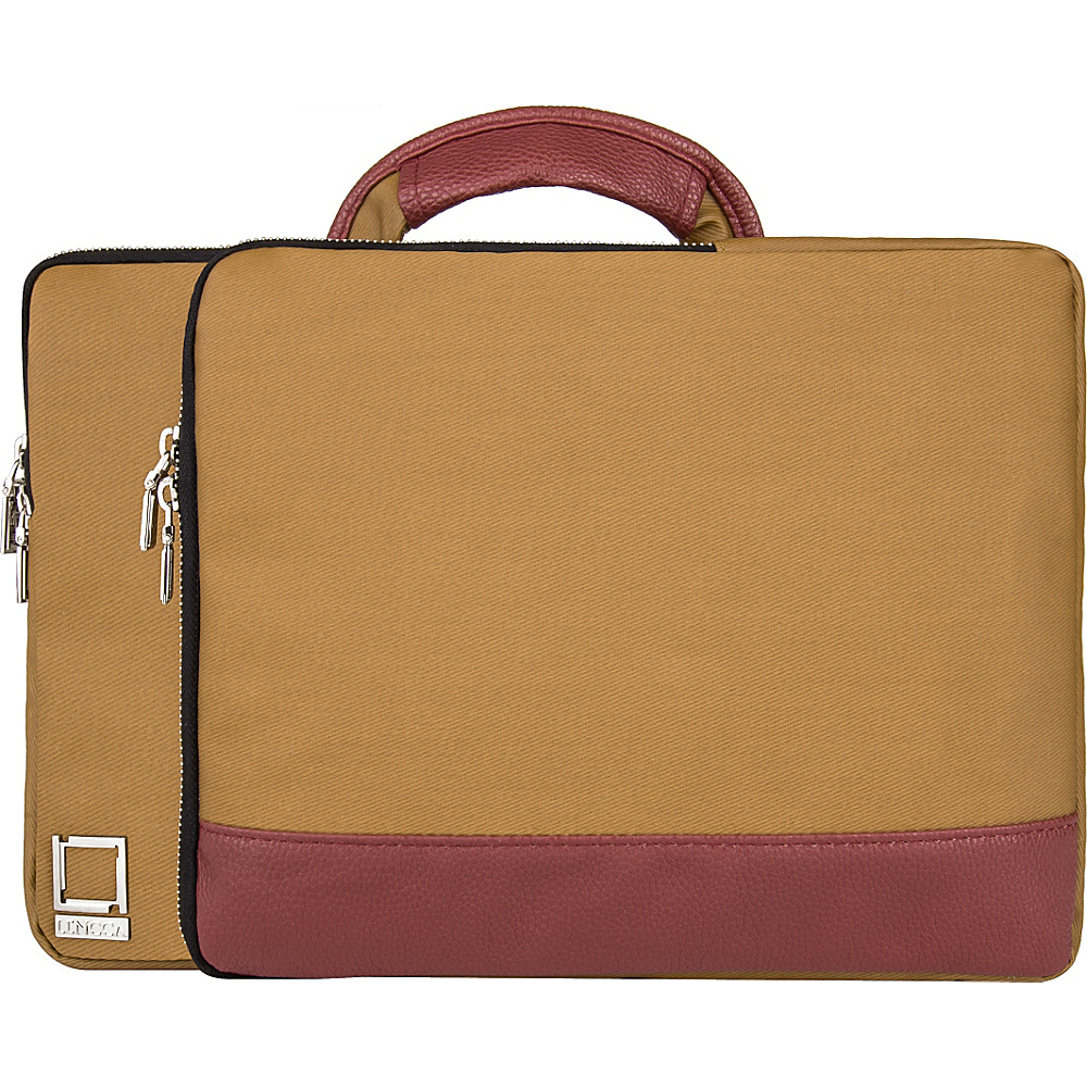 Lencca Divisio Laptop Tablet Top Handle Sleeve Tan Wine Lencca Electronic Cases