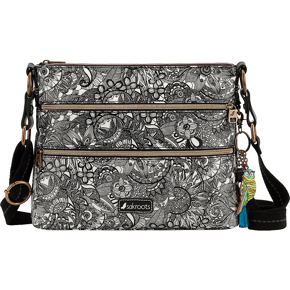 Sakroots Artist Circle Basic Crossbody Black & White Spirit Desert - Sakroots Fabric Handbags - Handbags, Fabric Handbags