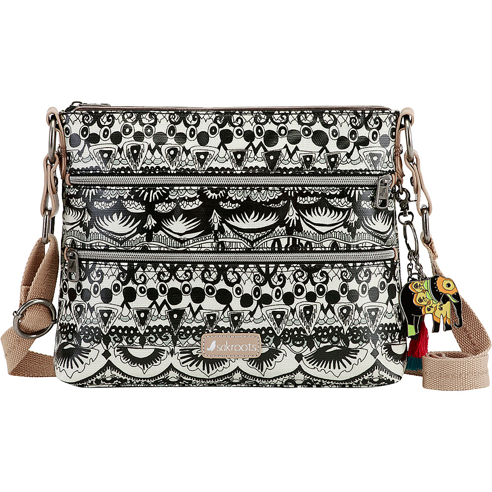 Sakroots Artist Circle Basic Crossbody Black and White One World Sakroots Fabric Handbags