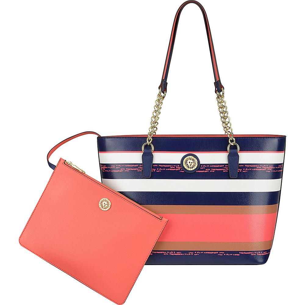 Anne Klein Double Time Medium Tote Midnight Multi/Sorbet Pink/Midnight - Anne Klein Manmade Handbags