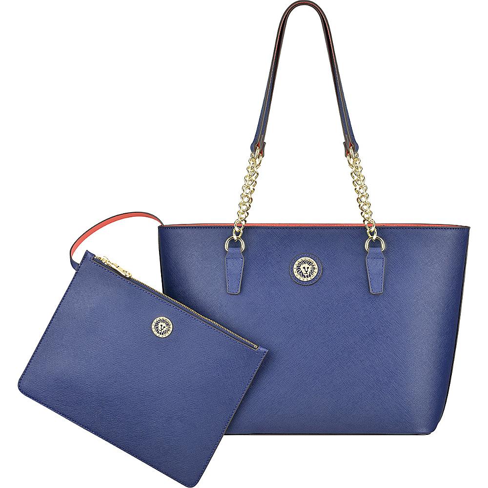 Anne Klein Double Time Medium Tote Midnight/Sorbet Pink - Anne Klein Manmade Handbags