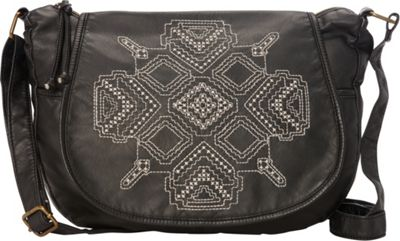 T-shirt & Jeans Washed Flap Crossbody with Embroidery Black - T-shirt & Jeans Manmade Handbags
