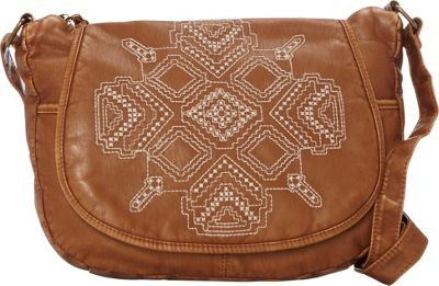 T-shirt & Jeans Washed Flap Crossbody with Embroidery Cognac - T-shirt & Jeans Manmade Handbags