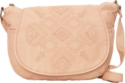 T-shirt & Jeans Washed Flap Crossbody with Embroidery Pink - T-shirt & Jeans Manmade Handbags