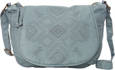 T-shirt & Jeans Washed Flap Crossbody with Embroidery Blue - T-shirt & Jeans Manmade Handbags