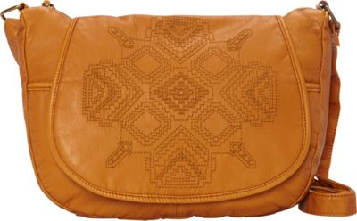 T-shirt & Jeans Washed Flap Crossbody with Embroidery Tan - T-shirt & Jeans Manmade Handbags