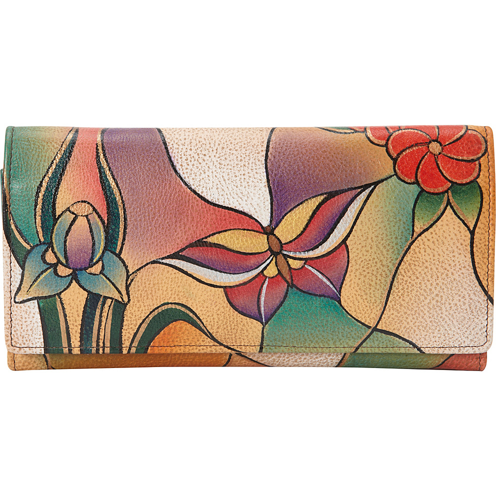 ANNA by Anuschka Hand Painted Multi Pocket Clutch Wallet Butterfly Glass Painting ANNA by Anuschka Women s Wallets