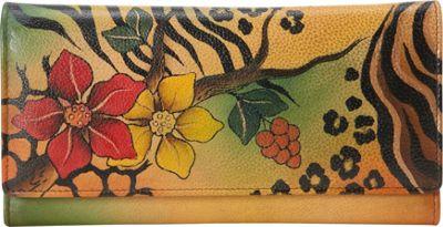 ANNA by Anuschka Hand Painted Multi-Pocket Clutch Wallet Safari Bloom - ANNA by Anuschka Women's Wallets